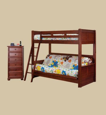 Twin Bunk Bed with Futons Bed in Dark Pecan