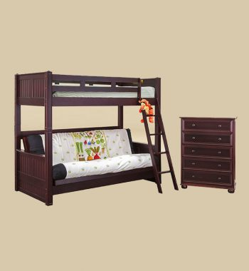 Twin Bunk Bed with Futons Bed in Walnut