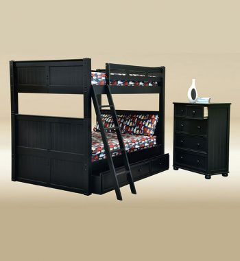 Full Over Full Bunk Bed With Storage in Black
