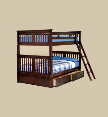Boston Full Over Full Bunk Bed with Drawers in Walnut