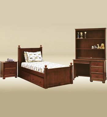Dark Pecan Twin Bed with Underbed Drawers