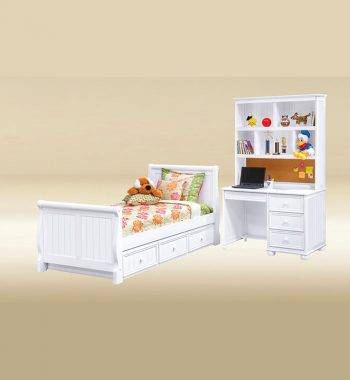 White Twin Sleigh Bed Set