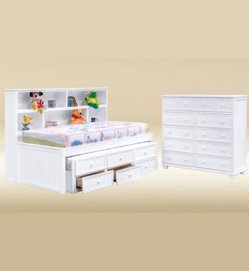White Bookcase Trundle Twin Bed