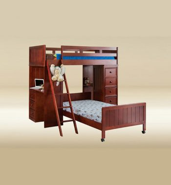 Twin Loft Bed with Desk and Chest in Dark Pecan