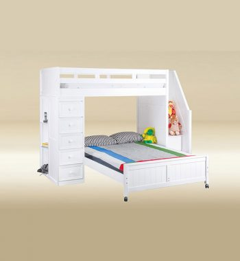 Twin Full Loft Bed in White