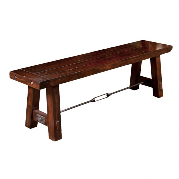 Vineyard Bench with Wood Seat