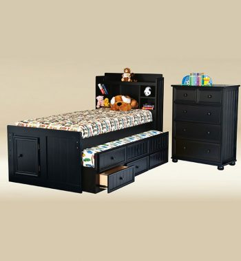 Black Twin Captain Bed Set