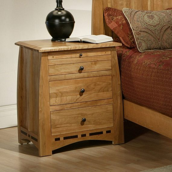 Solid Cherry 3 Drawer Nightstand