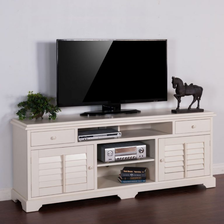 Vintage White 78 Inch TV Console