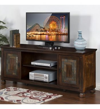 "Dark Hazelnut 74"" TV Console with Slate"