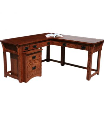 Mission Oak Desk and Return with File Cabinet