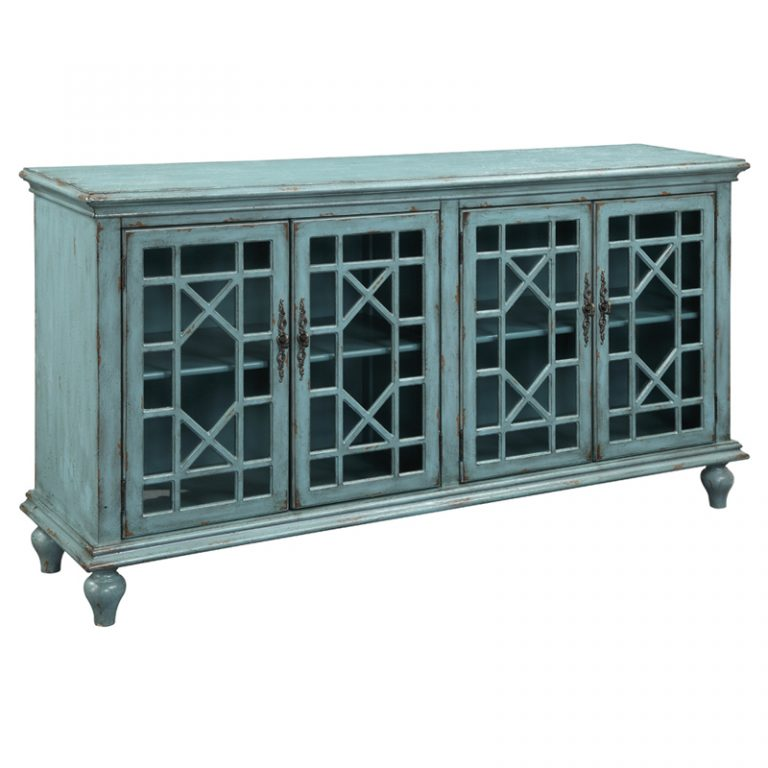 Bayberry Blue 4 Drawer Media Credenza