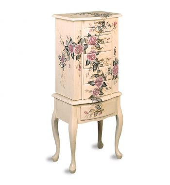 White Hand Painted Jewelry Armoire
