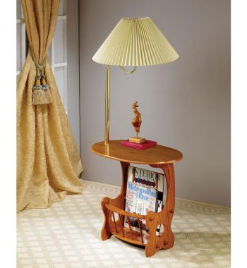 Oak Finish Chairside Table with Lamp