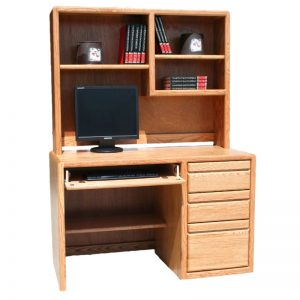 Modern Oak Desk and Hutch