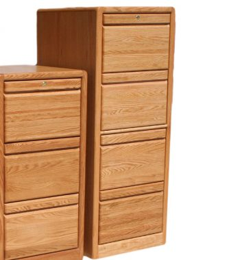 Modern Oak 4 Drawer File Cabinet