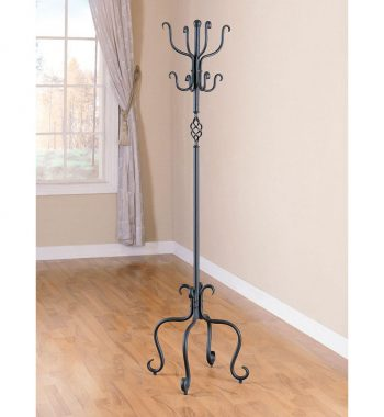 Metal Coat Rack in Sandy Black Finish