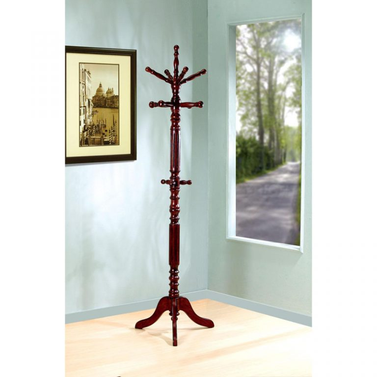 Dark Walnut Coat Rack with Top Rotating Arms