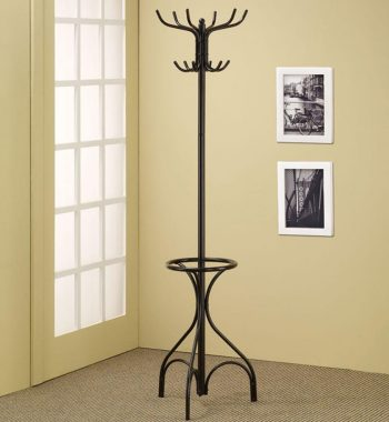 Black Metal Coat Rack with Umbrella Holder