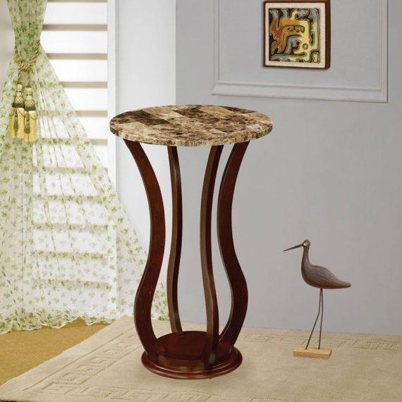 Faux Marble Top Accent Table