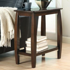 Walnut Bowed Leg Chairside Table