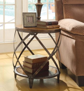 Metal Accent Table with Drum Shape
