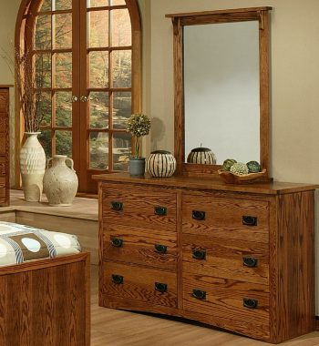 Mission Oak 6 Drawer Dresser and Mirror