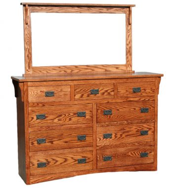 Mission Oak 9 Drawer Dresser & Solid Oak Beveled Mirror