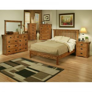 Mission Oak Rake Cal King Bedroom Set