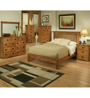 Mission Oak Rake Queen Bedroom Set