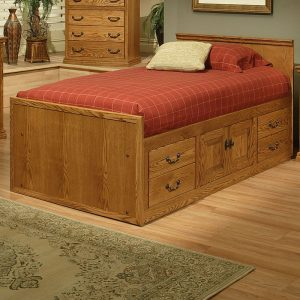 Traditional Oak Twin Chest Bed