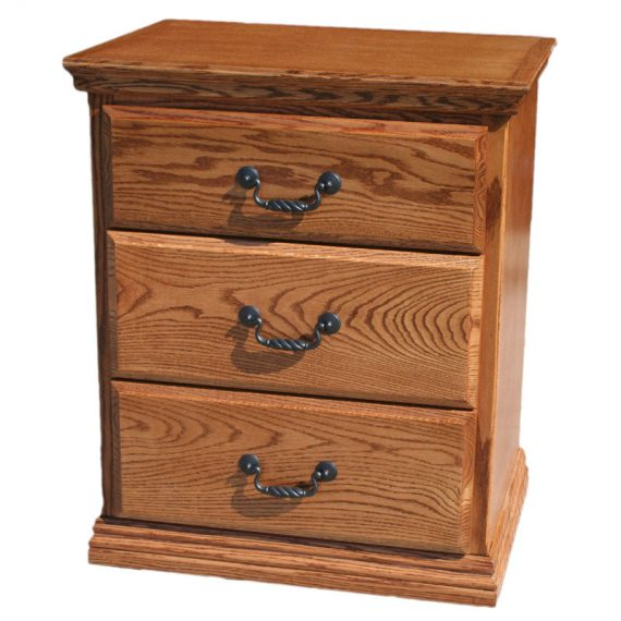 Traditional Oak 3 Drawer Nightstand
