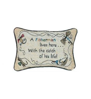 Fisherman Lives Here His Life Pillow - Word Pillow