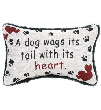 A Dog Wags Its Tail With Its Heart Pillow