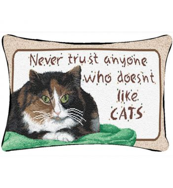 Never Trust Anyone Who Doesn't Like Cats - Word Pillow