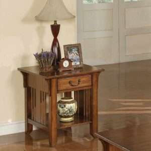 Zahara End Table in Mission Oak