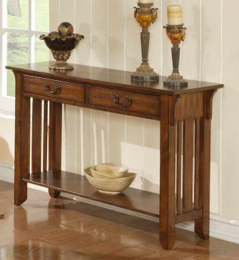 Zahara Sofa Table in Mission Oak