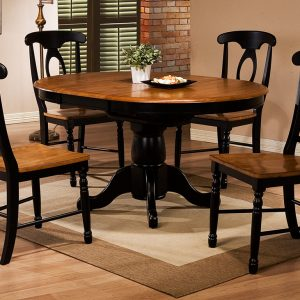"Quails Run 42"" Round Table w 15"" Butterfly Leaf"