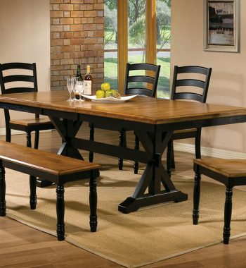"Quails Run Almond/Ebony 60"" Leg Table"