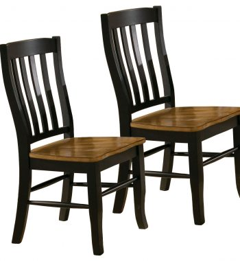 2 Quails Run Almond/Ebony Rake Back Side Chairs