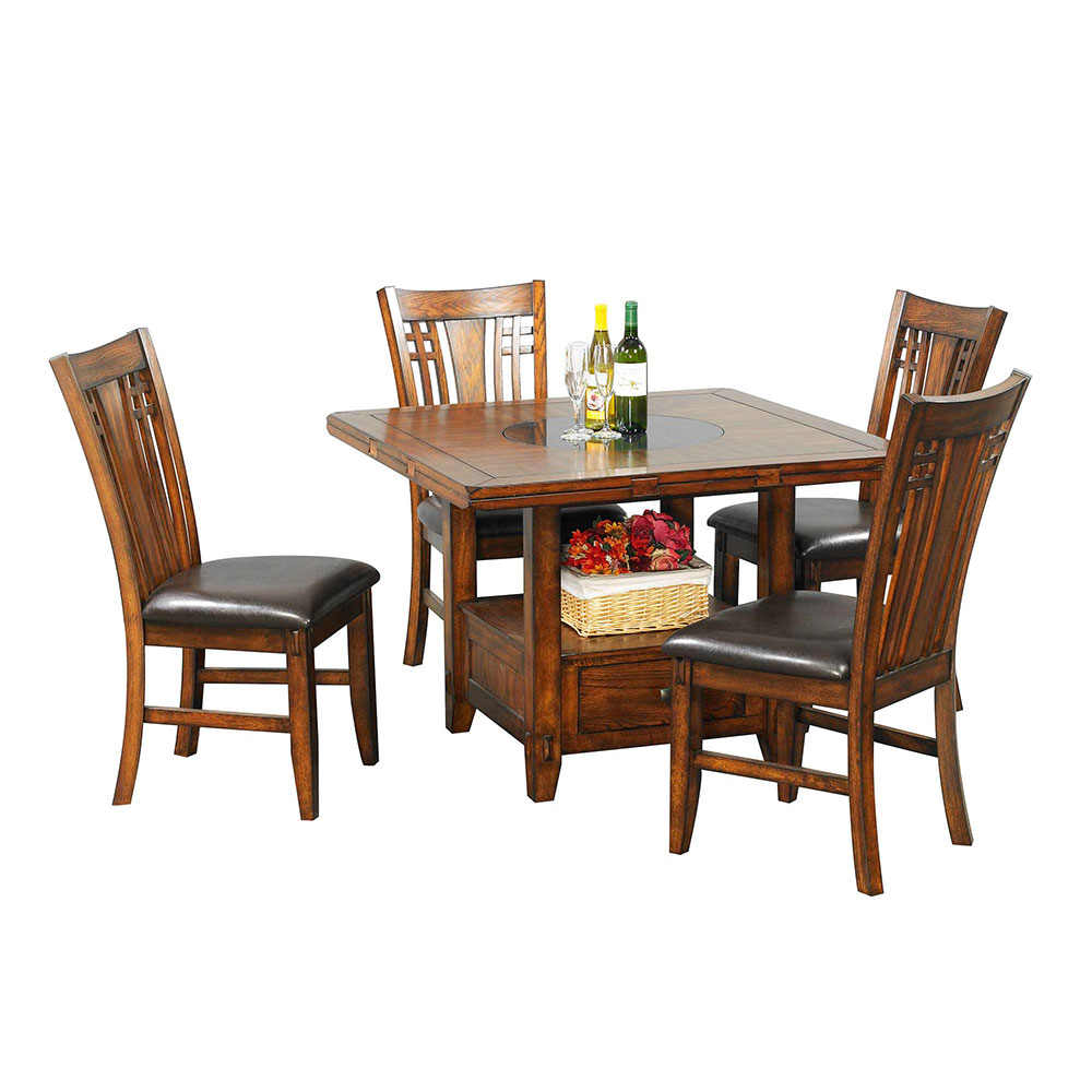 Zahara Dining Table 60 Round With Granite Lazy Susan 30 H Reminiscent Of Fine Mission Furniture The Zahara Collection Offers Sturdy Functional Dining In A Traditional Medium Oak Finish With Chamfered
